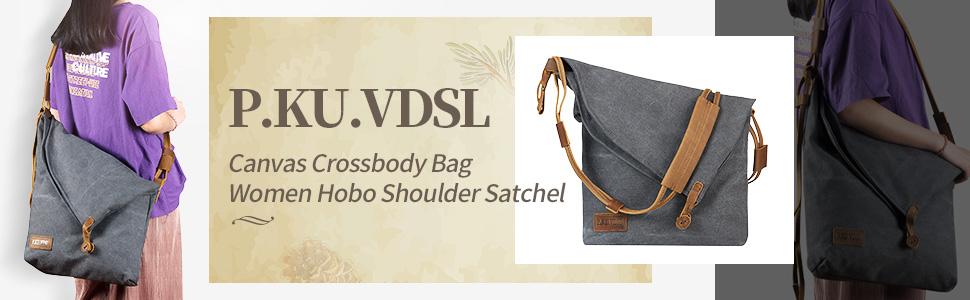27adce2e0217 P.KU.VDSL Women Crossbody Bag, Canvas Hobo Bag, Vintage Messenger Bag  Shoulder Satchel