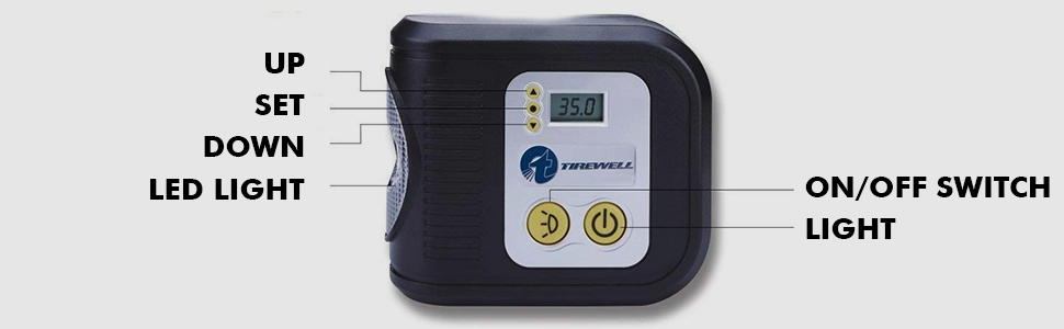 TW-7001 Digital Tyre Inflator with LED Light Functioning