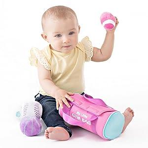 little girl baby newborn pink gym bag sports baseball soccer basketball  softball gund safe gift
