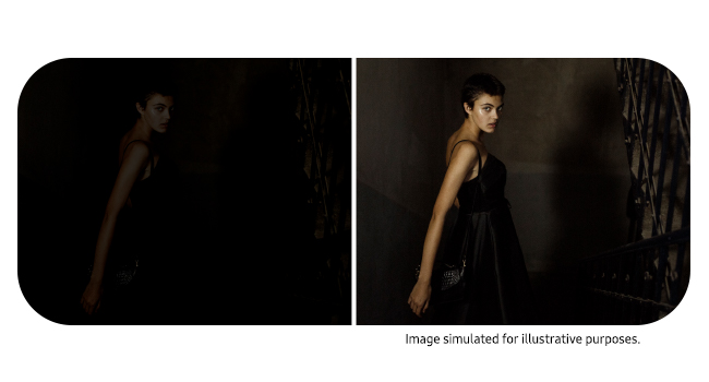 2 images shown side by side. The 1st one is dark. The 2ndhas the same image but with better lighting