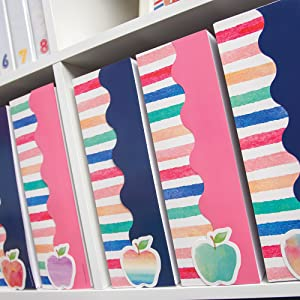 watercolor stripes, navy, and light pink scalloped border trim on storage organizers