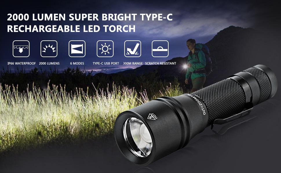 Lampe Torche LED FAGORY Rechargeable Lampe de Poche Puissante 2000LM Etanche Z