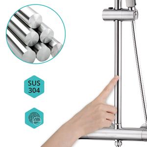 Elbe Columna de ducha con termostato, sistema de ducha en acero inoxidable para el baño, Ø 24 cm Ducha Redonda y Ducha de mano, ajustable entre 75-119 cm: Amazon.es: Bricolaje y herramientas