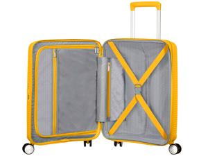 Soundbox; American Tourister; Suitcase; Golden Yellow; interior; organised