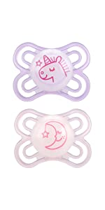 MAM Pacifiers, Baby Pacifier 0-6 Months, Best Pacifier for Breastfed Babies, Premium Comfort and Oral Care Perfect Collection, Girl, 1-Count