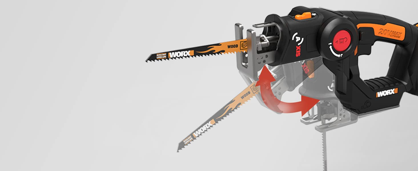 Turn this saw from a reciprocating saw into a jigsaw and back again with just the push of