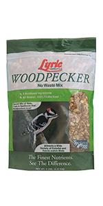 lyric, bird seed, bird food, lyric bird seed, wild bird seed, woodpecker food, woodpecker feeder