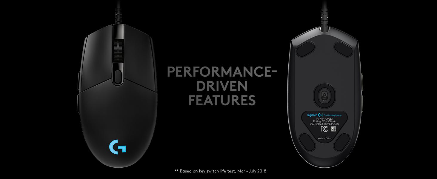 Logitech Pro Hero 16000 DPI Optical Gaming Mouse-Black Model 910-005439