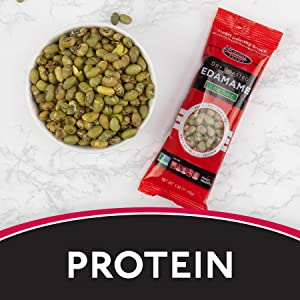 """A packet of dry roasted edamame next to a white bowl of edamame. Text reads """"Protein."""""""