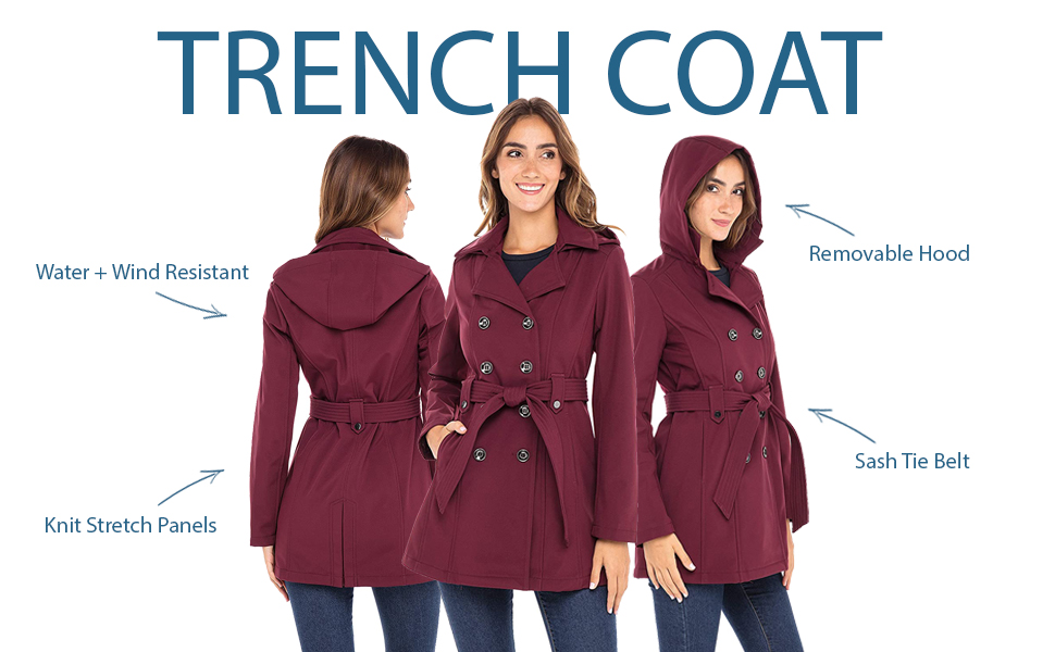 comfort fit trench coat removable hood sash tie belt water wind resistant