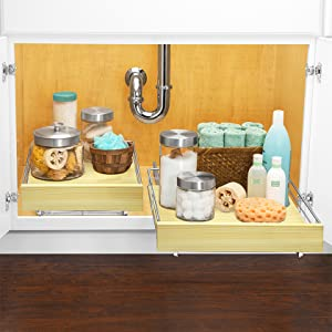 Lynk Professional Pull Out Wood and Chrome Cabinet Organizer