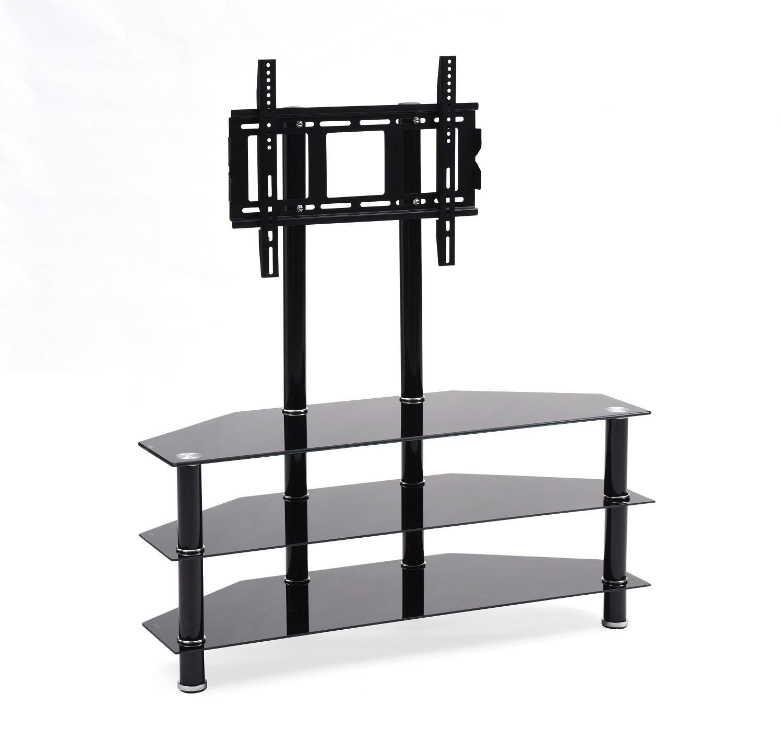 hodedah import hitv2502 mount three tempered glass shelves tv stand black. Black Bedroom Furniture Sets. Home Design Ideas