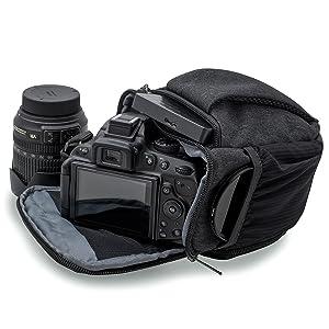 Silmo Funda para cámara réflex y cámaras compactas (con protección contra la Lluvia, tamaño M Negro