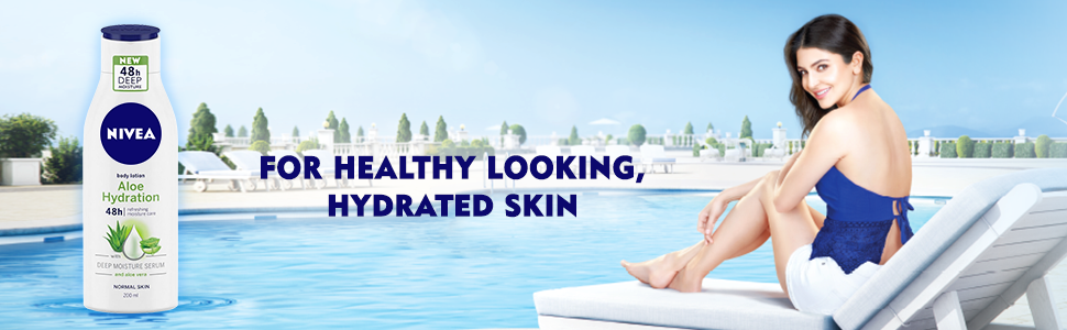 NIVEA Aloe Hydration Body Lotion bottle with Anushka Sharma