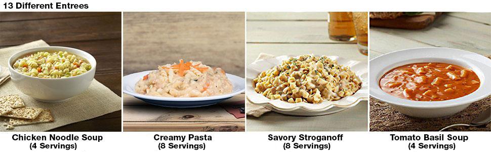 Entress, chicken noodle soup, pasta, beef, tomato basil soup
