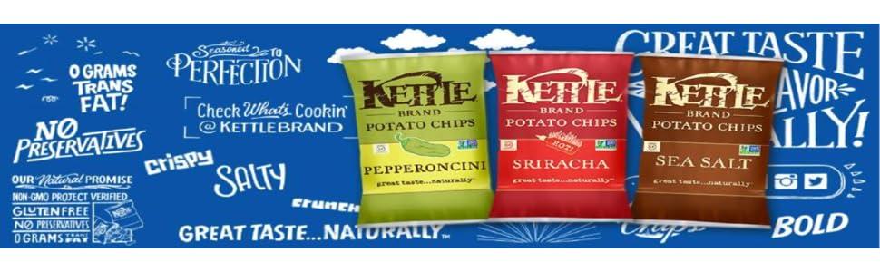 kettle brand, kettle chips, potato chips, organic snacks, non-gmo, pepperoncini, sriracha, sea salt