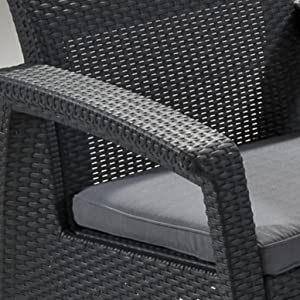 Open weave rattan style finish on the Keter Corfu patio furniture