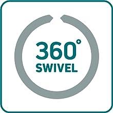 360-degree swivel, 360 degrees, swivel spout