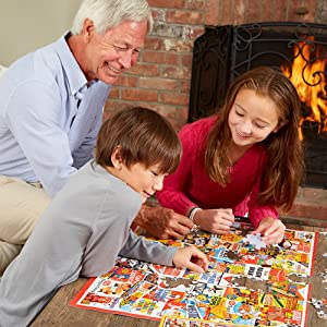 grandfather doing a puzzle with his kids