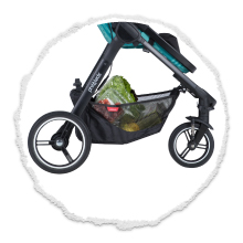 large parcel tray on single compact stroller