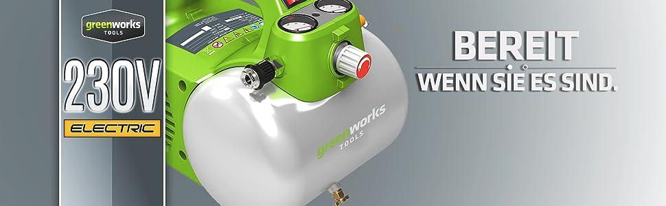 Greenworks Kompressor 6L 4101302 300W 8bar