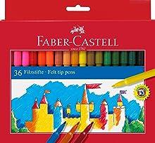 Faber Castell 554224 - Estuche de cartón con 24 rotuladores escolares, punta de fibra, multicolor: Amazon.es: Oficina y papelería