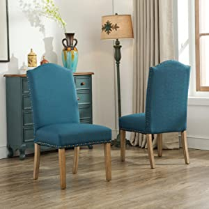 Roundhill Furniture Mod Urban Style Solid Wood Nailhead Fabric Parson Chair & Amazon.com - Roundhill Furniture Mod Urban Style Solid Wood Nailhead ...