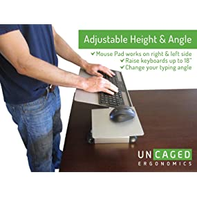 Adjustable Height Angle Sit Stand Computer Keyboard Tray
