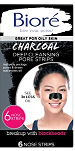 biore charcoal deep cleansing pore strips nose strips blackhead removal extraction clogged pores