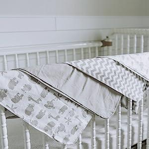 crib blanket sheet playard grey stripes gray solid celestial space stars