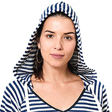 NFL Women's Hoodie Pulllover Sweatshirt V-Neck Stripe, Team Logo Color