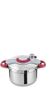 Tefal Clipso Minut Perfect - Olla a Presión de 7.5L de Acero Inoxidable Roja con 5 sistemas de seguridad y cierre fácil con una sola mano con cestillo Vapor Integrado, diámetro de