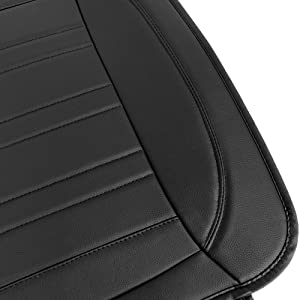 Truck /& SUV Front, 2-Pack Motor Trend MTSC-420 Black Universal Car Seat Cushion Padded Luxury Cover with Non-Slip Bottom /& Storage Pockets Faux Leather Chair Protector for Auto