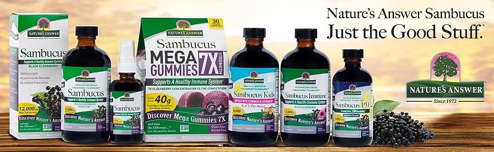 Nature's Answer, Sambucus, Concentrated, immune, No alcohol, no preservatives, black elderberry