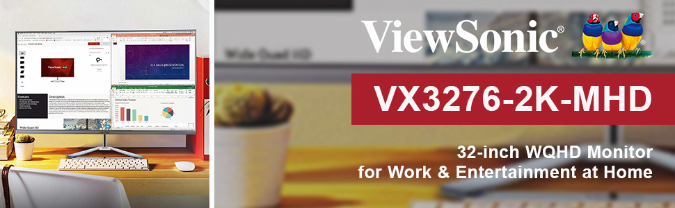 Viewsonic vx3276 wqhd 32 inch monitor home office work study entertainment