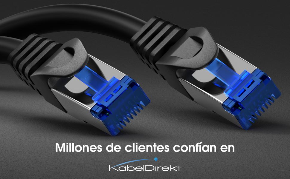 KabelDirekt - 7,5m - Cable de Red, Cable Ethernet y LAN - (transmite hasta 1 Gigabit por Segundo y es Adecuado para switches, routers, módems con ...