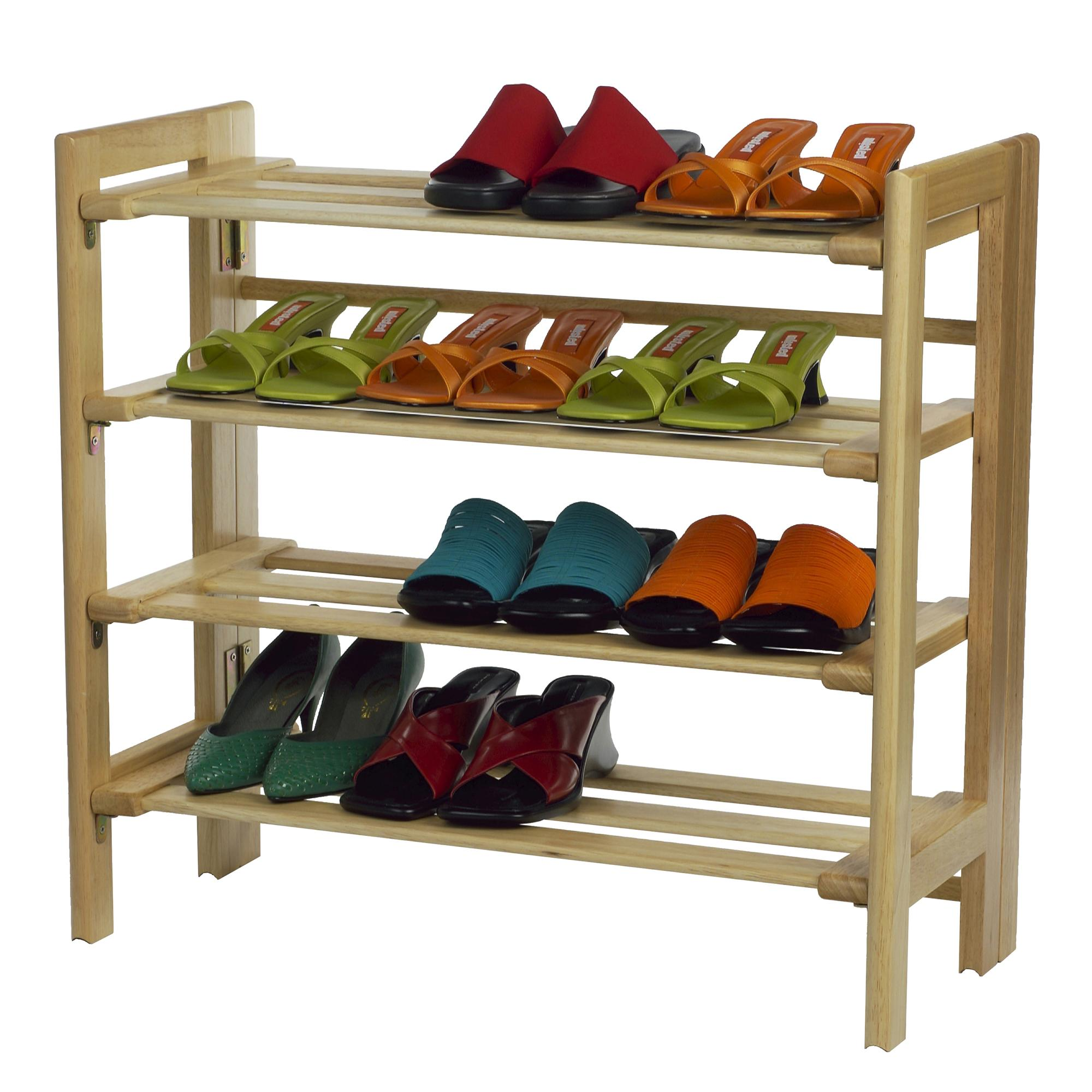 Shoe Organizer Amazoncom Winsome Wood Foldable 4 Tier Shoe Rack Natural