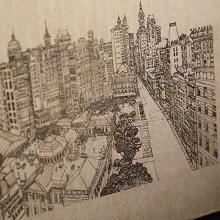 レーザー刻印「街の景色」