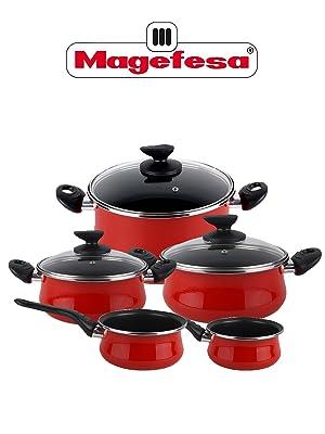 Magefesa Batería Cocina, Acero vitrificado, Rojo, 5 piezas ...