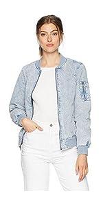 c2f47bf8489 Levi s Women s Acid Wash Cotton Bomber Jacket at Amazon Women s ...
