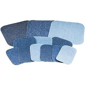 dark light medium wash denim adhesive patch no sew jeans repair flair pattern patchette iron-on