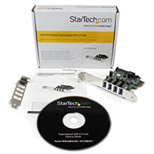 StarTech.com 4 Port PCI Express PCIe SuperSpeed USB 3.0 Controller Card Adapter with UASP - SATA Power - USB 3 PCIe Card (PEXUSB3S4V)