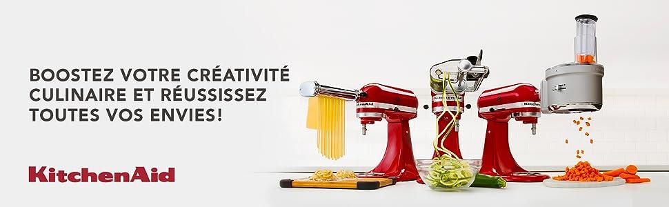 kitchenaid, robot patissier, robot de cuisine, robot multifonction, accessoires