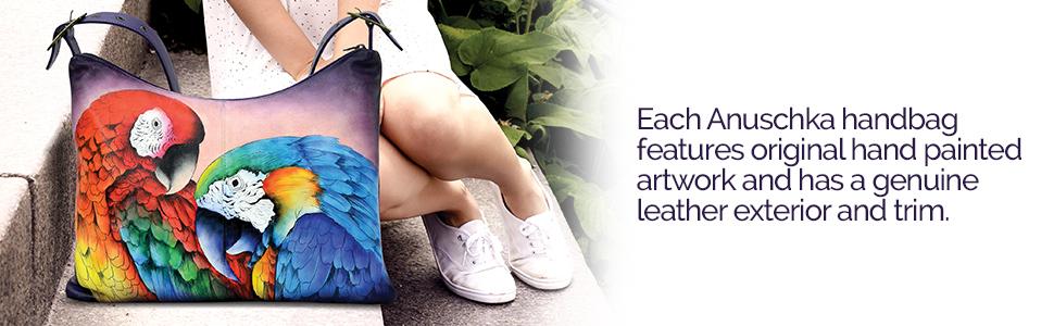 Each Anuschka Handbag features original artwork and has genuine leather exterior and trim