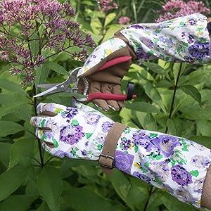 garden gloves, arm savers, work gloves, womens work, womens gloves, purple