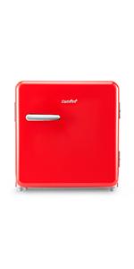 1.6 Cubic Feet Retro Refrigerator, Red
