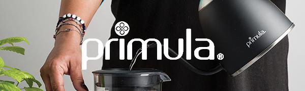 Primula Logo - Precision Kettle pouring water into cold brew maker.