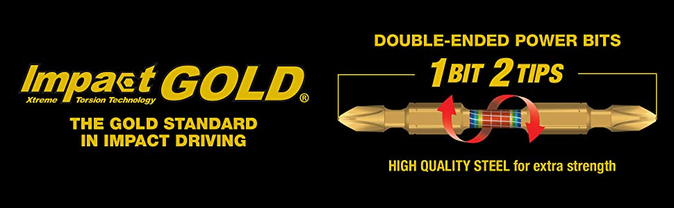 impact gold xtreme torsion technology double eneded power bit two tips
