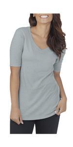 Essentials, Elbow Length, V-Neck tee shirt, ladies, comfy