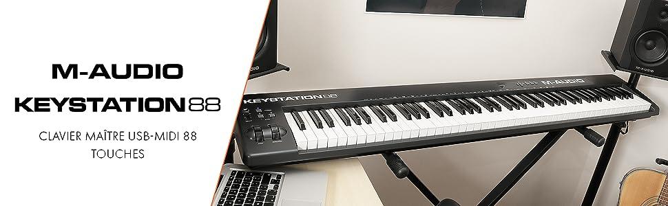 M-Audio Keystation 88 II Clavier-Maître USB MIDI avec 88 Touches Dynamiques Sensibles à la Vélocité + Logiciel Eighty Eight Ensemble par SONiVOX (pour Mac & PC)